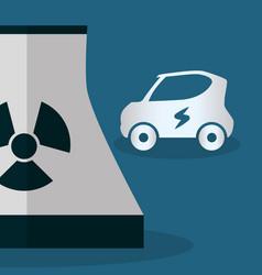 nuclear power plant car ecology vector image