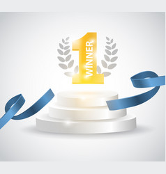 Winner background with blue ribbon on round vector
