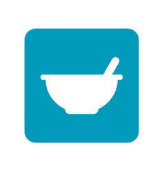 Mortar with pestle flat icon of laboratory vector