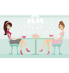 Cute pretty two young womans in coffee break vector