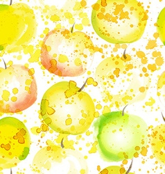 Watercolor apple seamless background vector