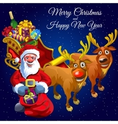 Santa claus and two deers with cart full of gifts vector