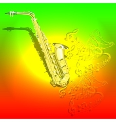 Musical background saxophone and waves of musical vector