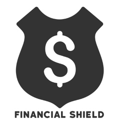 Financial shield icon with caption vector