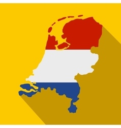 Map of Netherlands with Dutch flag icon vector image