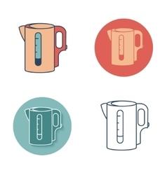 Electric kettle monochrome symbol tea icons set vector