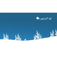 Silhouette of santa sleigh flying vector