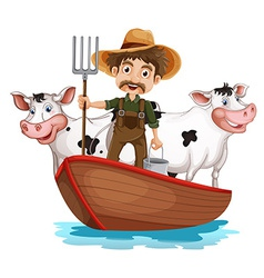 A boat with a man and two cows vector image vector image