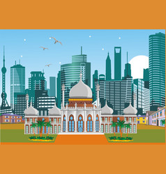 Arabic palace on the background of the metropolis vector