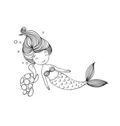 Beautiful little mermaid and the tortoise vector