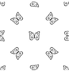 Butterfly peacock eye pattern seamless black vector