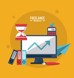 Colorful poster freelance business with computer vector