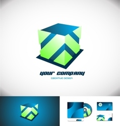 Cube 3d logo design blue green vector image vector image