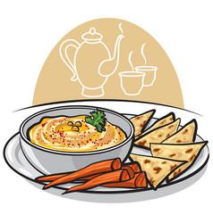 Eastern dish humus vector