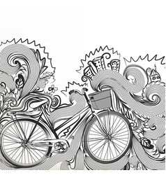 fashion sketchy doodle with bike vector image vector image