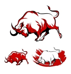 Fighting bull emblem set vector