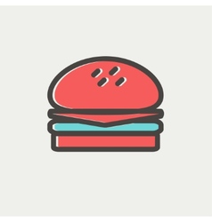 Hamburger thin line icon vector image