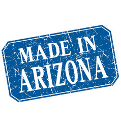 Made in arizona blue square grunge stamp vector