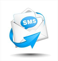 Mail with blue circular arrow vector image