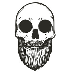 monochrome hipster skull with beard vector image