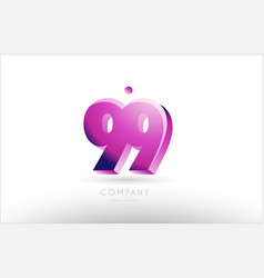Number 99 black white pink logo icon design vector