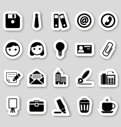 Office icons on stikers vector image