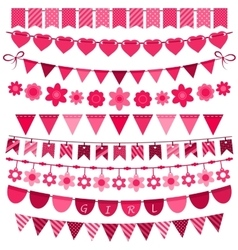 Pink bunting and garland set for girls vector image vector image