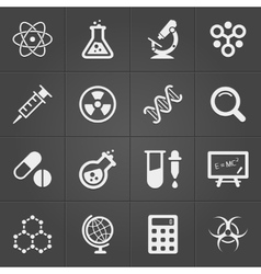 Science and physics related icons on black vector image
