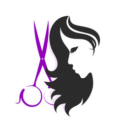 scissors and silhouettes of a girl vector image vector image