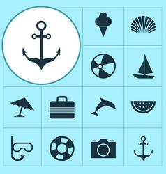 Season icons set collection of mammal conch vector