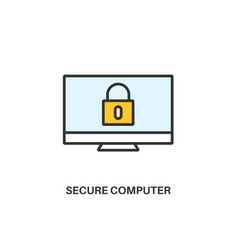 Secure computer icon vector