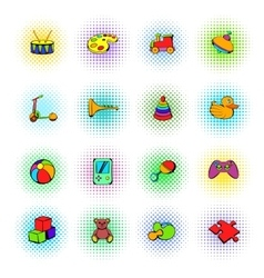 Toys icons set comics style vector image
