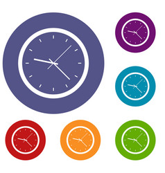 Wall clock icons set vector
