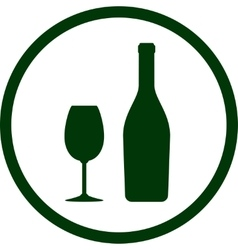White wine bottle and glass in round frame vector