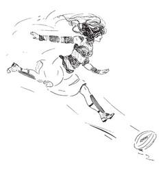 Woman chasing ball vintage vector
