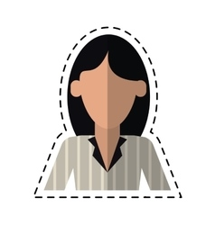 Woman with elegant business suit stripe cutting vector