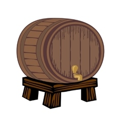 Wooden barrel isolated on white vector image
