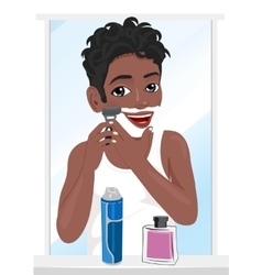 Young african american man shaving vector