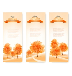 Three landscape autumn banners vector image