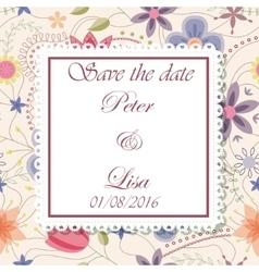 Wedding invitation flowers background vintage vector image