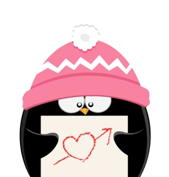 Penguin with heart paper vector