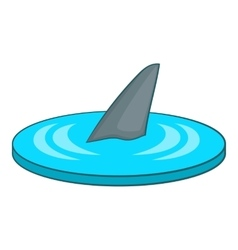 Shark fin icon cartoon style vector