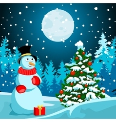 Winter landscape christmas night new year s eve vector