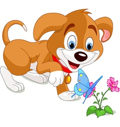 Puppy and Butterfly vector image