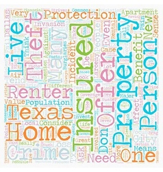 Texas renters insurance text background wordcloud vector
