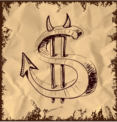 Devil dollar icon on vintage background vector