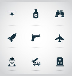 army icons set collection of chopper weapons vector image
