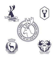 set of deer emblem vector image