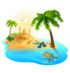 Tropical island paradise beach palm tree sand vector