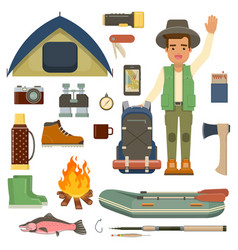 Traveler man with backpack and set of camping vector
